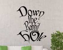 Alice In Wonderland Wall Decal Down The Rabbit Hole Disney Cartoon Quote Vinyl Sticker Nursery Girl Baby Kids Room Art Decor Mural 23ct