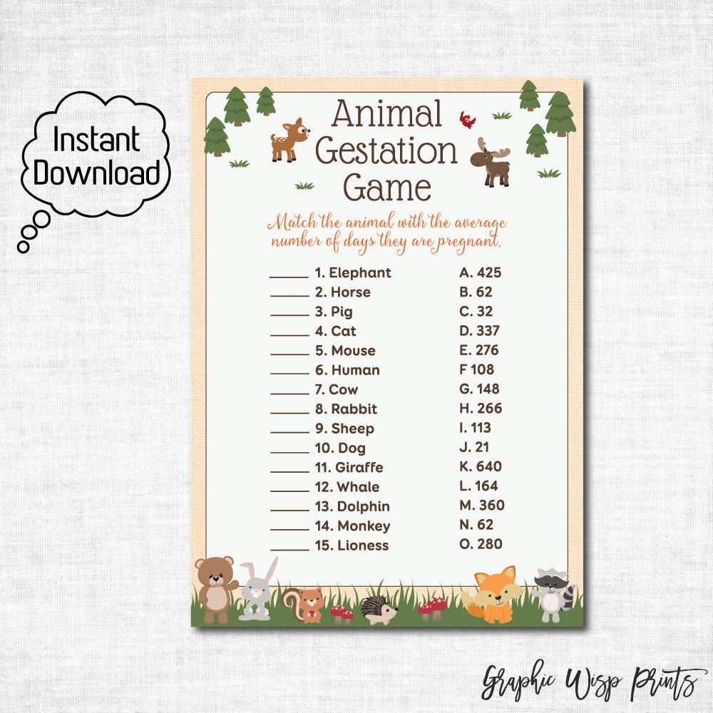 Woodland Baby Shower Animal Gestation Game Printable Animal