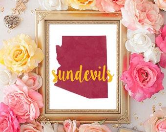 Arizona State University Watercolor Printable (8x10)
