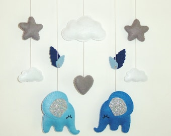 baby mobile or wall decoration . baby crib mobile or room decoration . elephant love, cloud, stars and butterfly