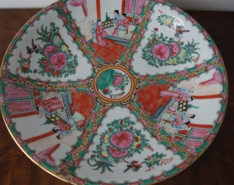 Vintage  Famille Verte Big Plate Bowl Diameter 36cm 14'' Hand painted