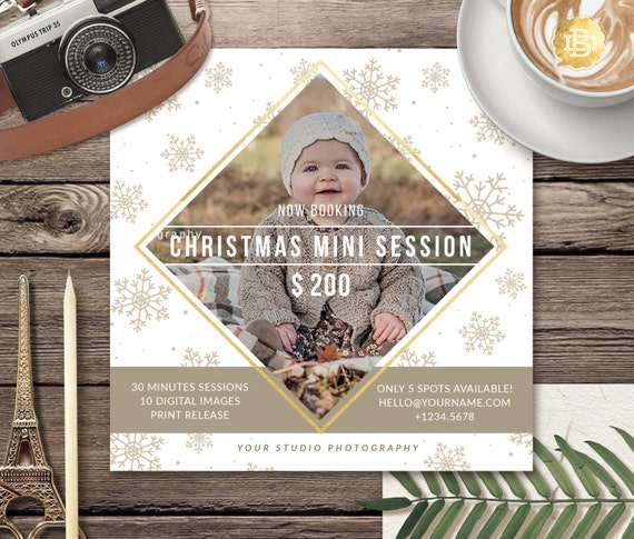 Holiday Mini Session Flyer Templates, Christmas Mini Session Template, Mini Session Template for Photographer - INSTANT DOWNLOAD - MS013