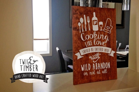 Kitchen Wall Art - Cooking Quote Art -  CUSTOM COLOR CHOICES