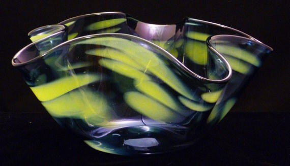 Hand Blown Decorative Bowl - Blue with Yellow Fluted