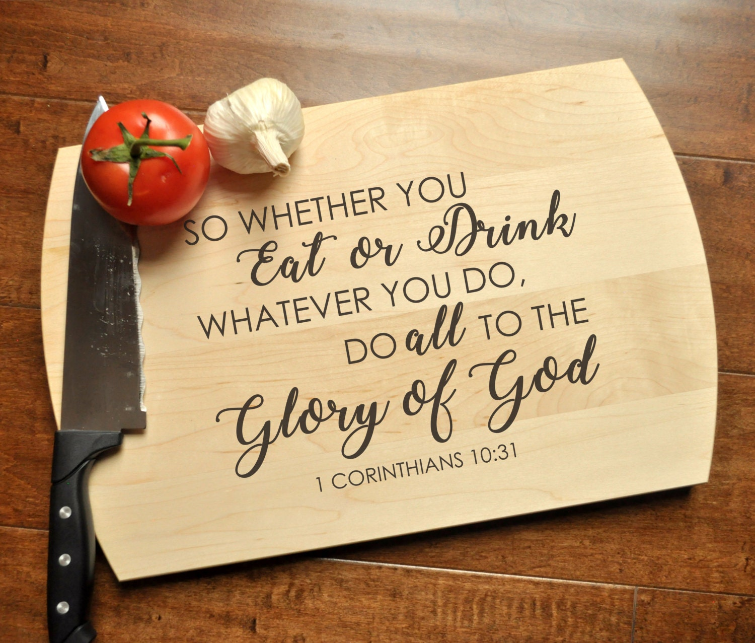 Glory of god cutting board christian cutting board personalized glory of god cutting board christian cutting board personalized wedding gift housewarming bible verse gift 1 corinthians 1031 negle Images