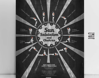 Sun salutation print, Yoga Postures Print, yoga print, yoga wall decor, yoga studio decor, yoga wall art, relax print, yoga gift