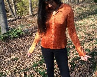 1980 blouse orange/ vintage blouse orange/ vintage 1980 blouse/