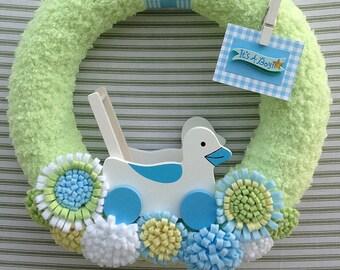 Baby Boy Wreath, It's A Boy Wreath, Gender Reveal Wreath, Baby Shower Wreath, Hospital Door Wreath, Yarn Wreath, Baby Nursery Wreath