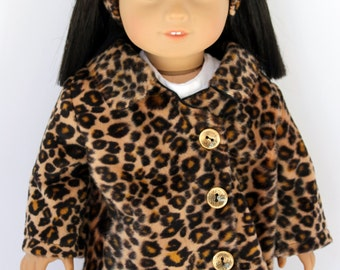 Faux fur leopard coat with matching headband/hairband, American Girl doll, 18 inch doll
