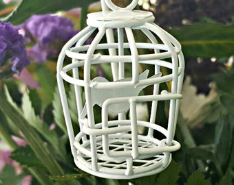 Miniature Hanging Wire Birdcage with Bird - White