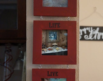 PICTURE FRAME. 3 picture frame decor. Wood Frame. Wall hanging decor. Family pictures display. Wall art.