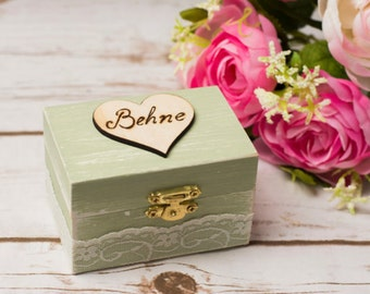 Wedding Ring Box Aqua Mint White Ring Bearer Box Ring Pillow Personalized Ring Holder Shabby Chic Rustic Wedding