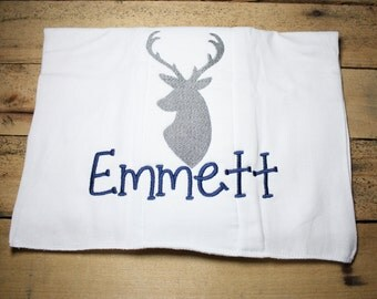 Personalized Deer Burp Cloth Embroidered Hunting Antlers Camo Monogrammed