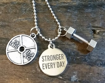 Stronger Everyday Weightplate and Dumbell Necklace