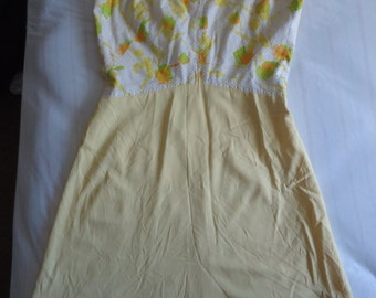 1960's Homemade Girl's Sleeveless Shift Dress,Yellow,Orange,& Green Abstract Flowers,Zip Back