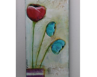 Abstract Florals, Mixed Media Florals, Home Decor