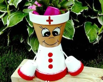 Nurse Clay Pot People/Flower Pot Large