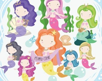 Mermaid Clipart,Mermaids Clipart,Sea Clipart,Personal & Commercial use,Vector, Instant download_ MM01