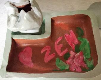Clay Zen garden - Mini zen garden - Clay incense pot - Gift Zen decor - miniature garden - sand - Handmade - Deco house
