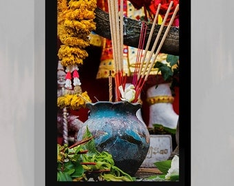 Buddhist Decor, Religious Wall Art, Pop Culture Prints, Asian Fine Art, Asian Photography  - Incense Prayers for good deeds