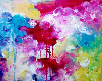 Modern Art - Original Painting - Abstract Art - Abstract Painting - Original Fine Art 8x10 - Bright Painting, Cheerful Painting