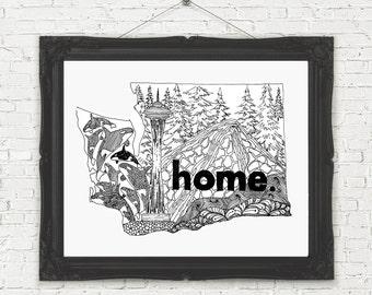 Great Gift Idea for Washingtonians! Washington State Wall Art, black and white, Washington Home Print, Monochromatic, Seattle Space Needle