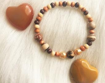 Genuine Zebra Stone, Freshwater Pearl and Wood Beaded Bracelet