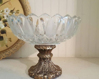 Vintage Crystal Bowl with Bronze Pedestal Base