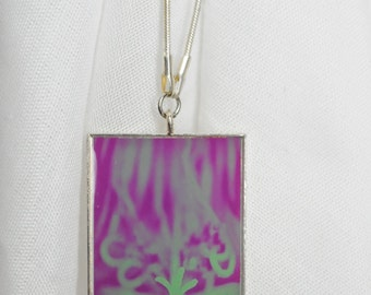 PENDANT NECKLACE: Purple and Aqua Floral. Photograph, Photography, Silver, Gift Ideas, Personalized Gifts