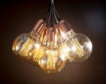 Vintage copper pendant light cluster +  Edison bulbs + Ceiling Rose + Braided 1m fabric leads + Free P&P