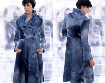 Fitted Wool coat, Wool Trench Coat, Blue Wool Coat, Long Warm Coat, Blue Felt Coat, Ana Livni