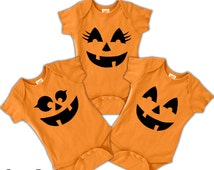 Cute pumpkin Face Baby onesie T-shirt Halloween Costume Cosplay Shirts Toddler Kids Adult sizes