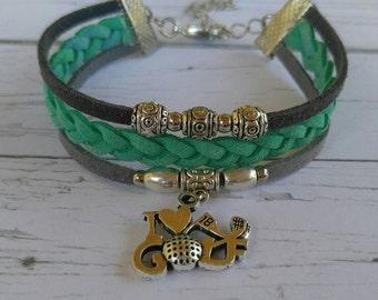 Girls Custom Sports Bracelet//Teen Golf Bracelet// Mint and Gray// Golf Mom// Choose Sports Team or Favorite Color Cords & Sports Charm