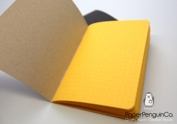 Midori Insert Yellow Travelers Notebook Black Brown Regular Wide B6 Personal A6 Pocket Field Notes Passport/Grid Dots Lined/Bullet Journal