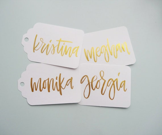 White paper with gold writing gift tags wedding by