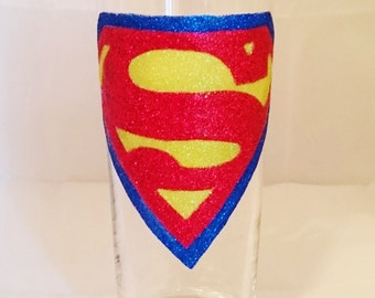 Hand Decorated Glitter Glass - Superman Pint Glass