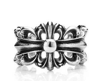 Fleur de lis ring stainless steel 316L for him and her