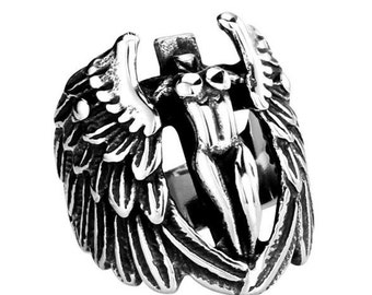 Mrs cross ring stainless steel 316L with wings for him and her