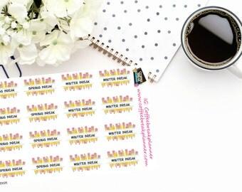 Planner Stickers|School Planner Stickers |Spring Break and Winter Break Reminder Stickers| Spring Break Stickers| Winter Break Stickers|D025