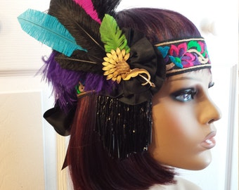Vintage Charelston Great Gatzby Headband Headdress Downtown Abbey Flapper 1920's