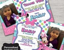 Minnie Mouse Birthday invite,Minnie,Minnie's Bowtique invite,JPG file,Invite,Thank You Card,Minnie Mouse,Minnie's Bowtique,Minnie,DPP216