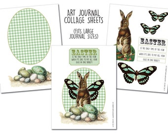 Easter Bunny - Large Art Journal Collage Sheets