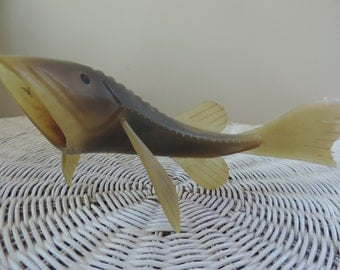 Horn Sculptured Fish from Russia Vintage