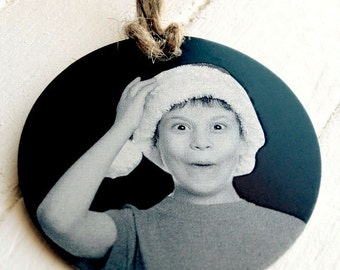 Children's Photo Christmas Ornament -Personalized Metal Christmas Ornaments - Photo, Handwritten, or Custom Text -Desgin Your Own Gifts
