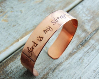 Handwritten Copper Cuff Bracelet- YOUR HANDWRITING - your text, your design,  - Perfect For Layering -Jewelry For Her