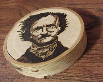 Edgar Allen Poe wood burning