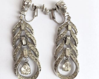 Vintage Clear Rhinestone Chandelier Earrings From The 1960s