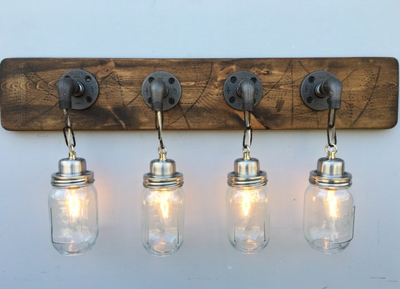 Rustic Industrial Modern Mason Jar Lights Vanity Light: Vanity Light Fixture 4 Country-Style Mason Jar Light By
