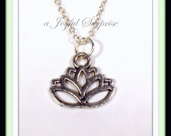 Silver Lotus Necklace, Lotus Jewelry Gift Silver Charm Pewter Pendant Flower, Awakening Symbol Birthday Gift Christmas present for mom 41