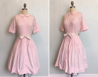 1950's Pink Day Dress with Peter Pan Collar / vintage 1950's day dress / 1950's dresses